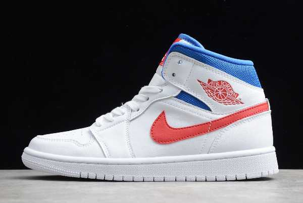 BQ6472-164 New Air Jordan 1 Mid USA White Blue Red 2020 For Sale