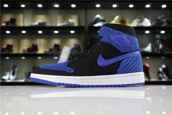 "Air Jordan 1 Retro High Flyknit ""Royal"" Black/Game Royal-White 919704-006"