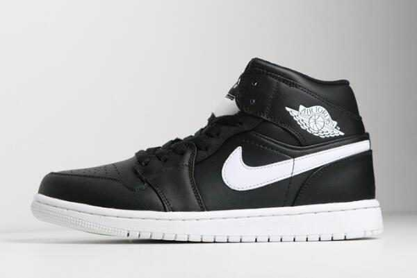 Buy Air Jordan 1 Retro Mid Black/White 554724-038 Men' s Shoes Sneakers