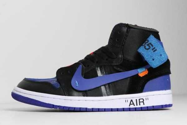 2018 Off-White x Air Jordan 1 Black/Royal Blue-White Discount Shoes