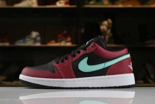 Men' s and Women' s Air Jordan 1 Low Black/Green Pulse-Gym Red-White 553558-036
