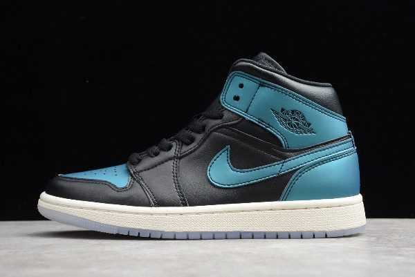 Air Jordan 1s Mid ' etallic Turquoise' Black Green BQ6472-009