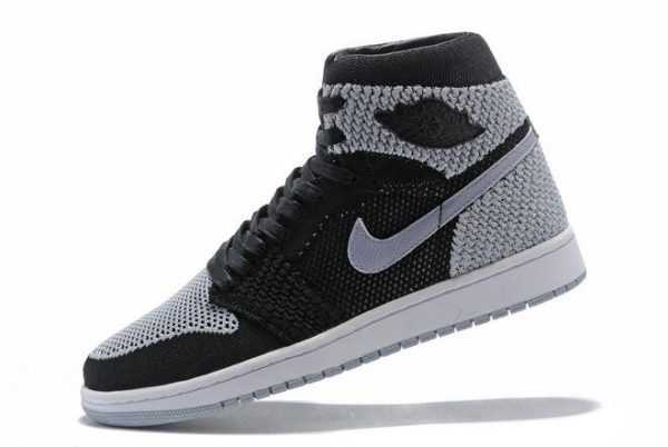 Mens Air Jordan 1 Flyknit Shadow Black/Medium Grey-White 919704-003 For Sale