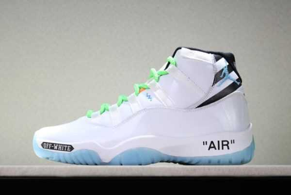 Custom Off-White x Air Jordan 11 White/Legend Blue/Black/Green For Sale