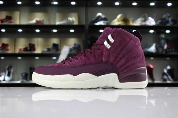"Air Jordan 12 ""Bordeaux"" Bordeaux/Metallic Silver-Sail 130690-617 Mens and Womens For Sale"