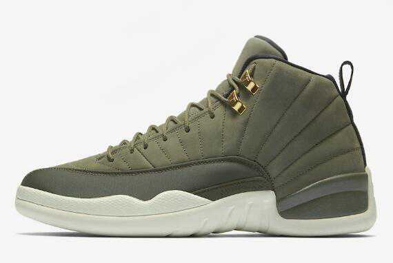 Mens Air Jordan 12 CP3 ' lass of 2003' Olive Canvas/Sail/Black-Metallic Gold Shoes