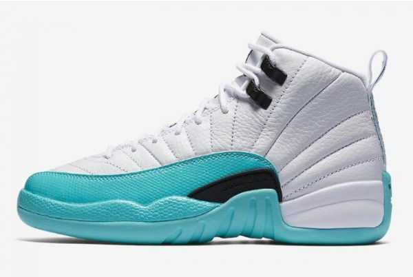 2018 Girls Air Jordan 12 Retro GS White/Light Aqua-Black Shoes 510815-100