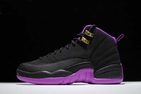 Air Jordan 12 GS Retro ' yper Violet' Black/Metallic Gold Star-Hyper Violet Basketball Shoes