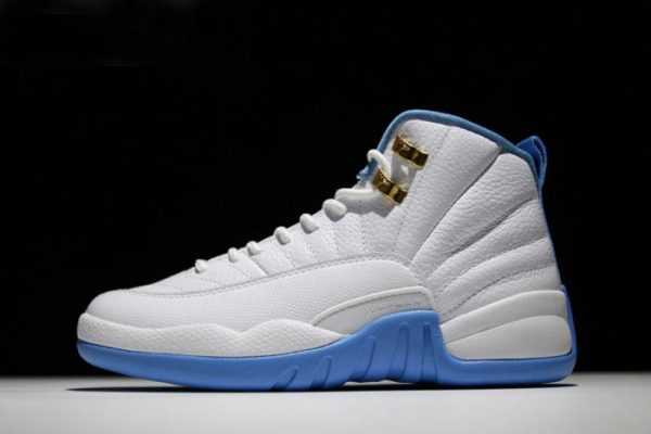 Air Jordan 12 ' niversity Blue' White/Metallic Gold-University Blue Mens and Womens