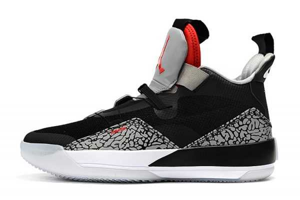 Buy Air Jordan 33 Black Cement Elephant Print Shoes