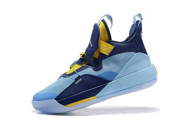 Grade School Air Jordan 33 Mint Green/Navy Blue-Yellow Shoes