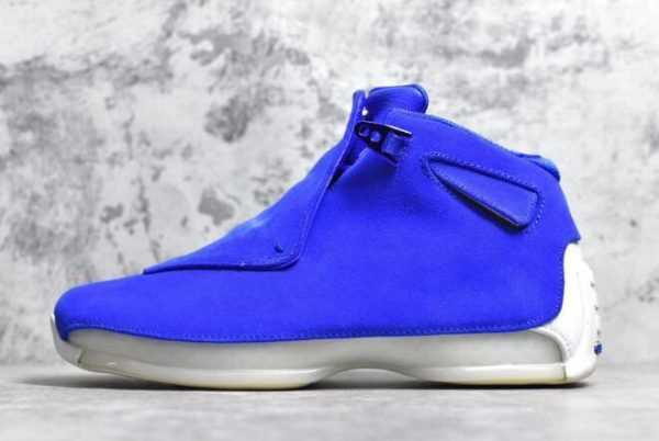 2018 Air Jordan 18 Retro ' lue Suede' Racer Blue/Sail AA2494-401