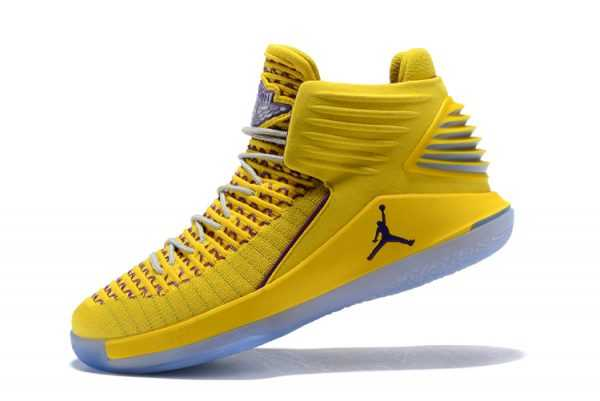 New Air Jordan 32 Warriors Yellow/Light Purple Men' s Basketball Shoes