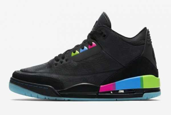 "2018 New Air Jordan 3 Retro ""Quai 54"" Black/Electric Green-Infrared 23-Black AT9195-001"