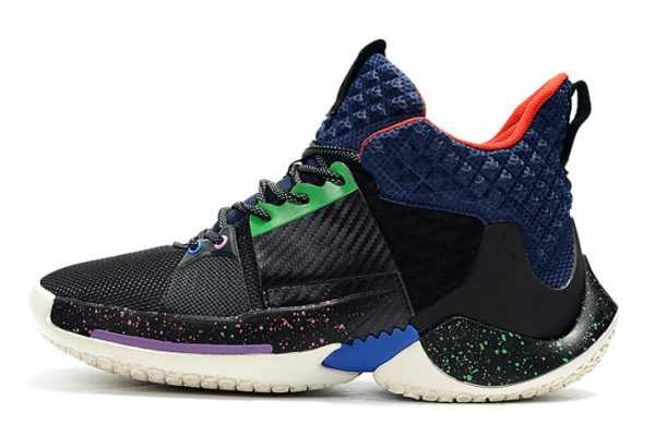 Jordan Why Not Zer0.2 Black/Navy Blue-Red Big Kids' Basketball Shoes